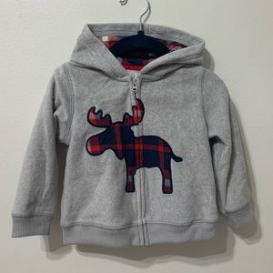CARTERS | Fleece Zip Hoodie w Moose Plaid 18M